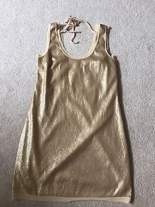 Walter Sequin Gold Beige Mini Dress 4 Mesh Back Sexy Cocktail Holiday Christmas | eBay