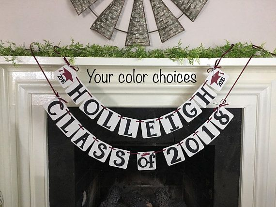 2019 Banner Graduation Party Decorations Graduation Banner Class Personalized Name Banner High School College Grad Garland