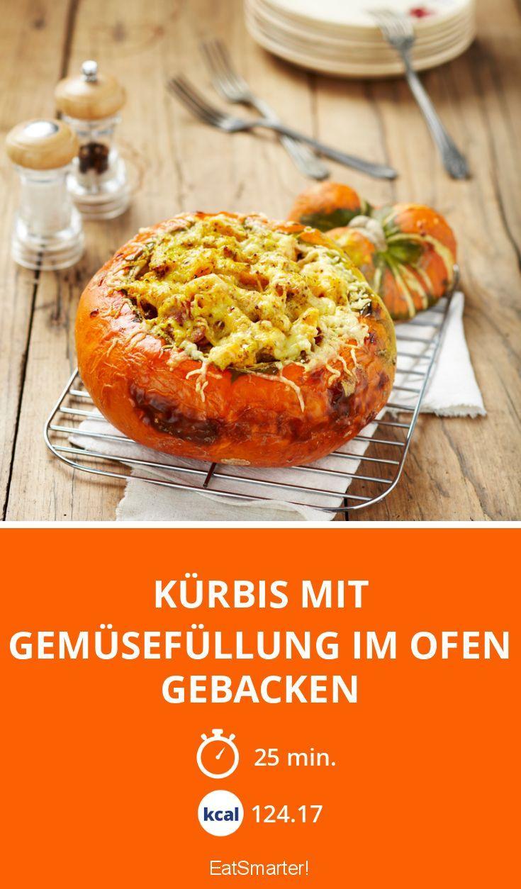Kürbis mit Gemüsefüllung im Ofen gebacken - smarter - Zeit: 25 Min. | eatsmarter.de