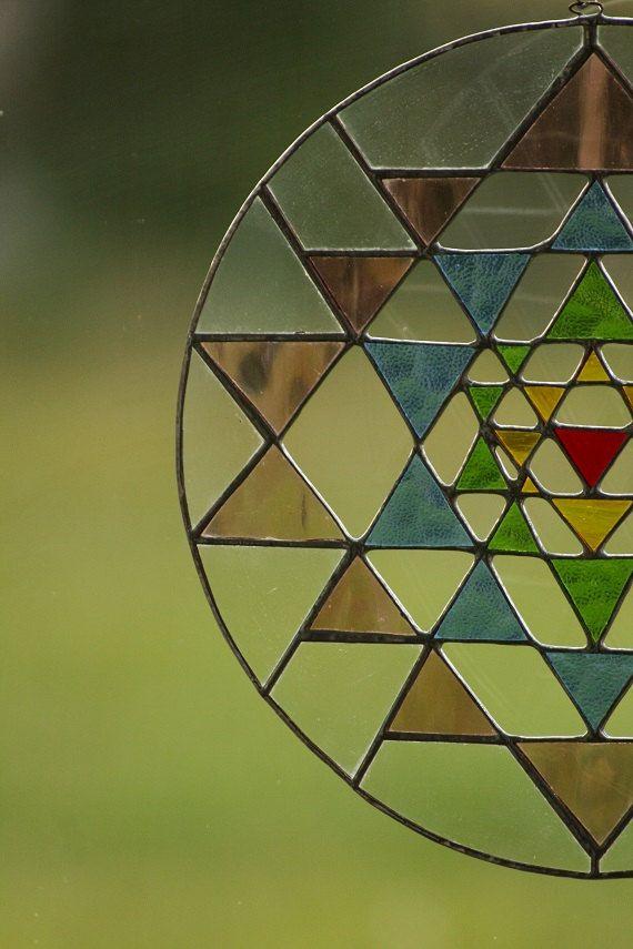 Sri Yantra Meditation  suncatcher  stained glass Mandala Yoga