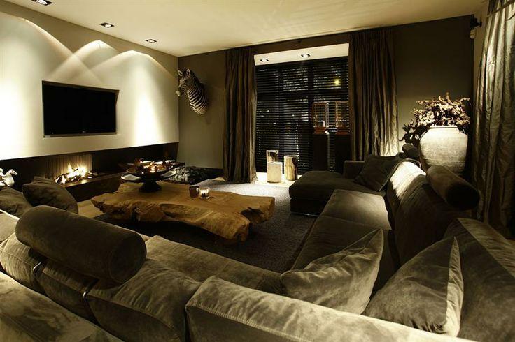 Deze woonkamer ziet er mooi uit en geeft een warm gevoel bij.