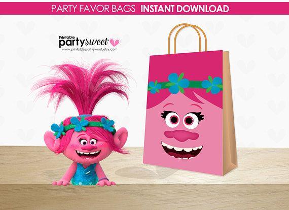 Trolls Birthday Favor Bags, Trolls Gift Bags, Trolls Party, Trolls Poppy, Trolls Party, supplies, Trolls Printable Party, Princess Poppy