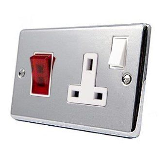 Cooker Control Unit - Polished Chrome - Classic - White Insert - Cooker Switch w/ Plug Socket