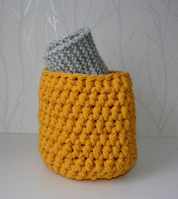 Large crochet cotton basket by CreamKnit on Etsy