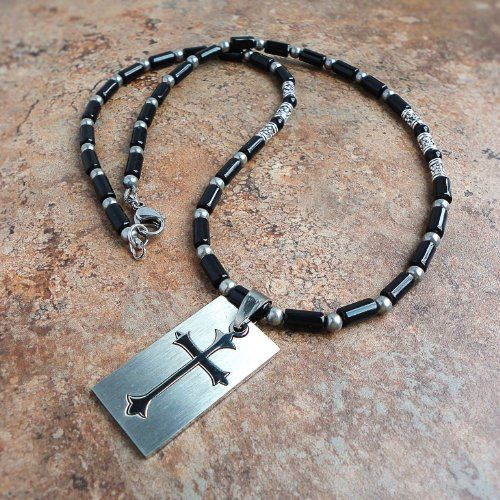 Black Onyx Gemstone & Stainless Steel Cut-out Cross Tag Pendant Necklace 22in for Men, Women, Unisex - Handmade $54.95