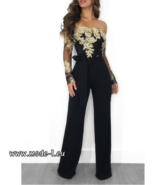buy online 59d43 239ff Elegantes Jumpsuit 2019 Einteiler mit Spitze in Schwarz Gold ...