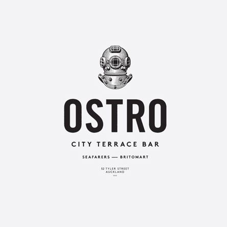 Logo with etched illustrative detail designed by Inhouse for brasserie and bar Ostro