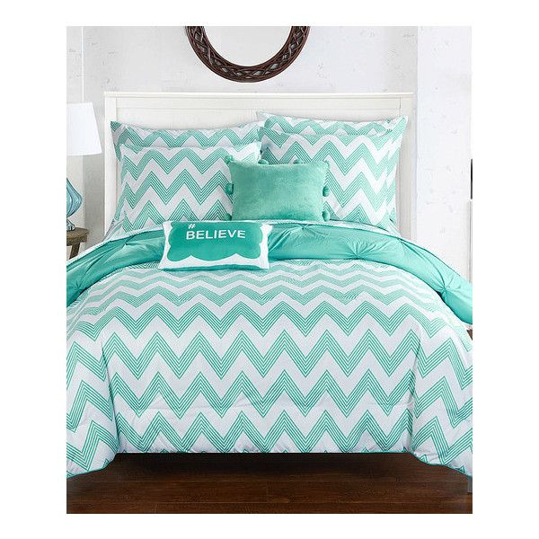 Chic Home Design Aqua Chevron Reversible Microfiber Comforter Set (£65) ❤ liked on Polyvore featuring home, bed & bath, bedding, comforters, microfiber comforter set, chevron bedding, twin flat sheets, twin comforter and reversible comforter sets