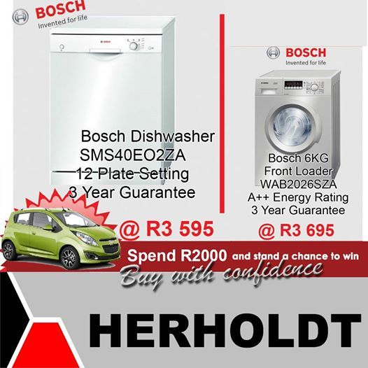This weeks specials from the Herholdt Group include these Bosch products reduced to unbelievable prices. Remember you only need to spend R2000.00 to put yourself into the lucky draw to win a Chevy Spark. #homeappliances #lifestyle #homeimprovement