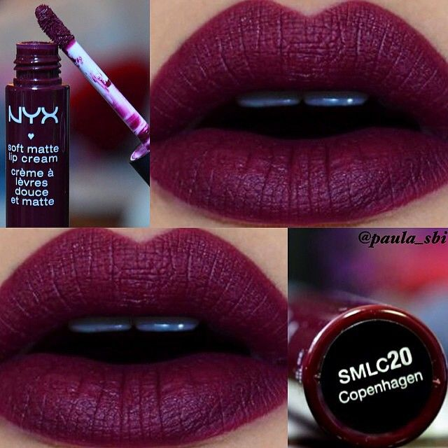 Gorgeous, striking colour! i want!!! #ShareIG Happy fall! Looking for a versatile wine colored lippie that can match any skin tone? Our Soft Matte Lip Cream in 'Copenhagen' is a fan favorite. Thanks for the beautiful swatch @paula_sbi! || #nyxcosmetics #regram