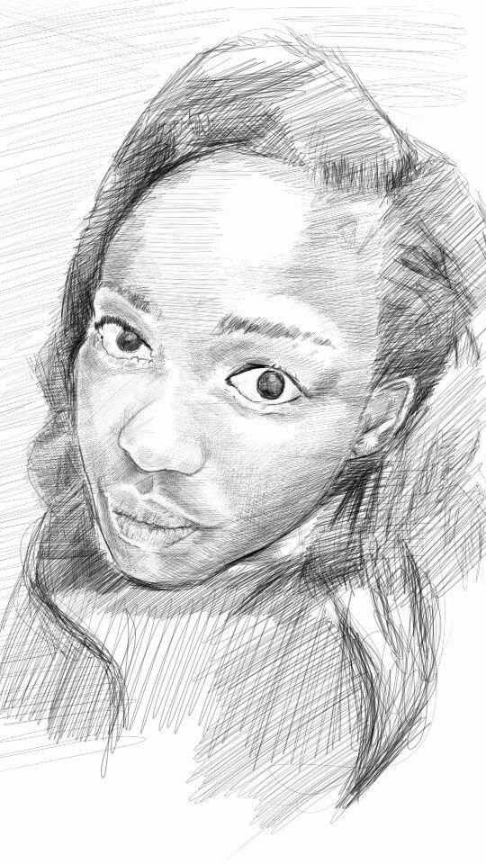 Drawing of a friend in progress
