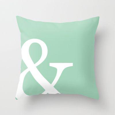 Vintage mint green Ampersand art print Throw Pillow