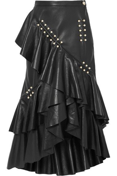 501f3267cd Rodarte | Embellished ruffled leather midi skirt | NET-A-PORTER.COM ...
