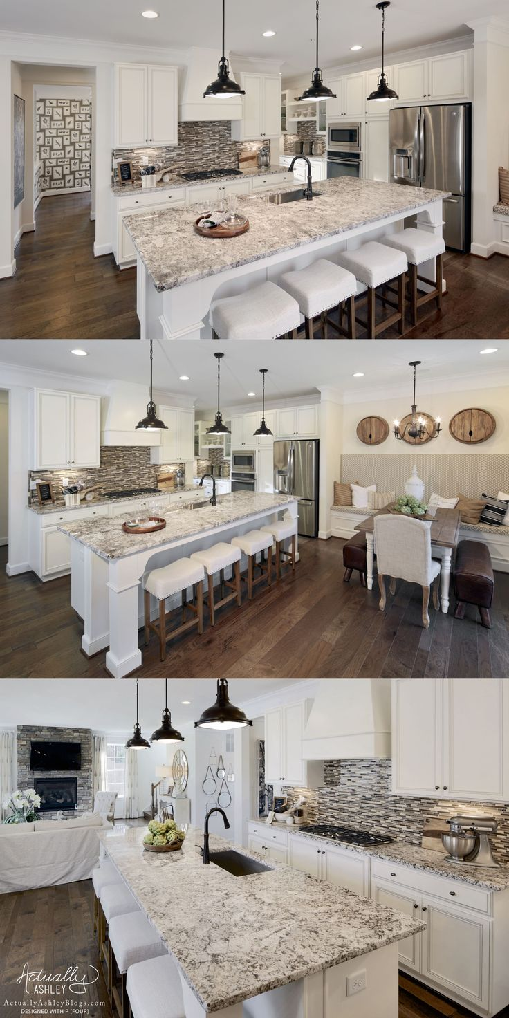 I love this monochromatic open concept living space. We infused layers of white and neutrals to add to this rustic farmhouse kitchen and family rooms.  Visit www.actuallyashleyblogs.com to see more of this beautiful rustic home!