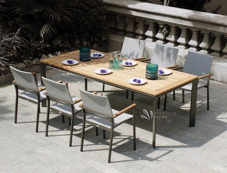 Salon De Jardin Bas Teck : Fauteuil de jardin en aluminium texitilène teck gris foncé Réf  PT