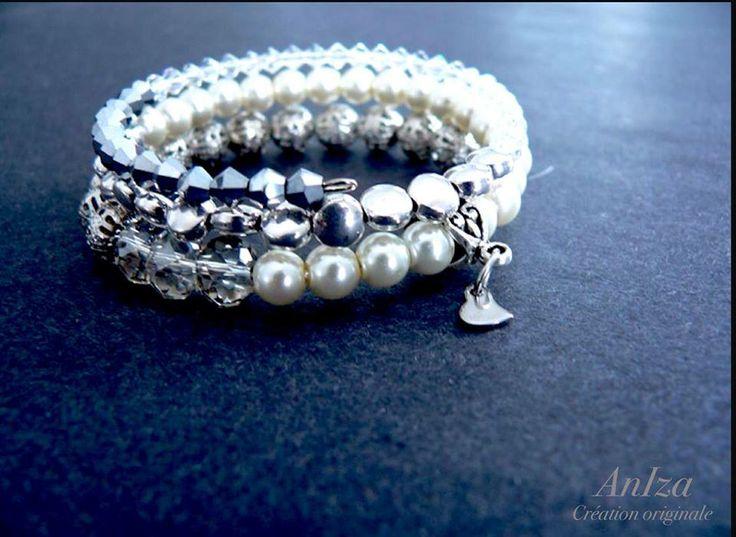 bracelet perle et métal, fait par Annie