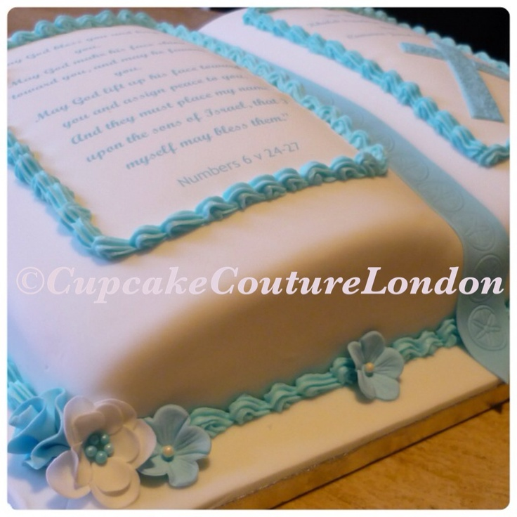 Christening cake idea for a boy. Hand-made blue and white flowers with printed bible scripture and embossed cross