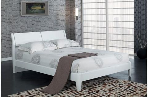 https://www.corstorphinebedcentre.co.uk/collections/beds/products/copy-of-aztec-black-double-bed-frame-135cm - The Bed Shop   Designed to feel contemporary and spacious, the Aztec boasts a curved headboard, low footboard and high-quality finish.  Aztec white double bed frame 135cm