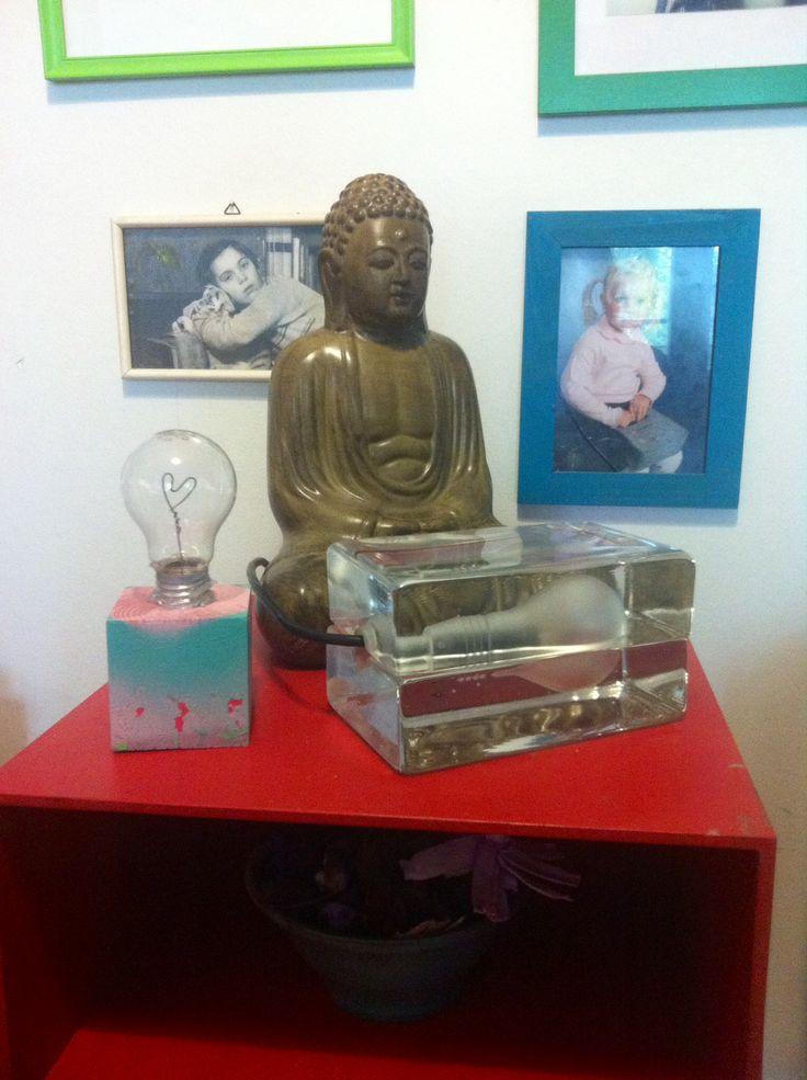 Block lamp by Harri Koskinen, the heart-lightbulb by me :) enlightened Buddha!