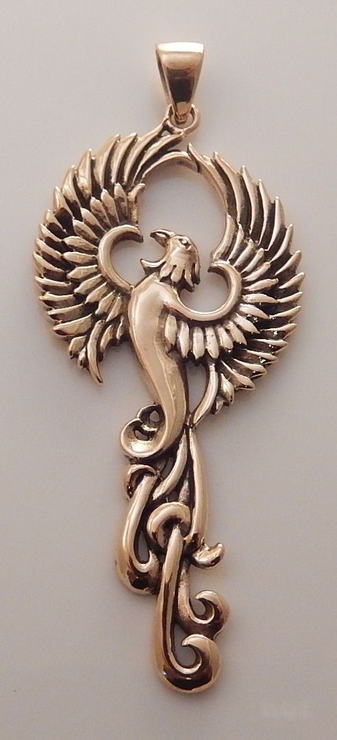 Phoenix Rising Pendant | Large Handcrafted Gold Tone Bronze Fire SUN Bird amulet