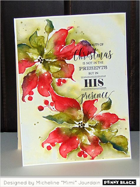 Awesome watercolour tutorial with Distress Inks, wonderful poinsettia example