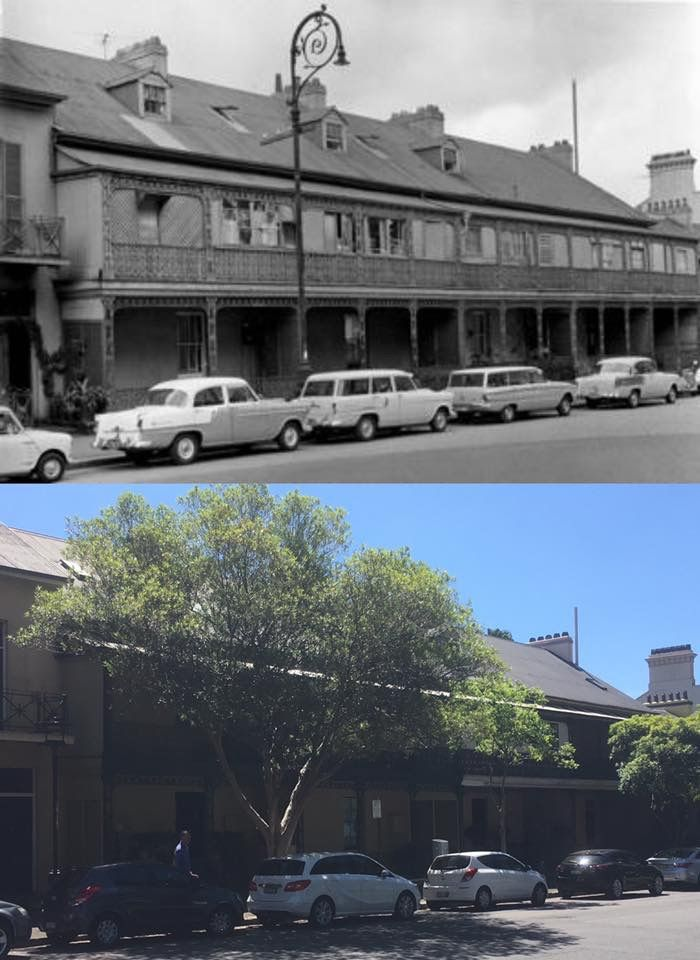 25-33 Lower Fort Street, Dawes Point in 1961 > 2016. [Sydney City Archives > Phil Harvey. By Phil Harvey]