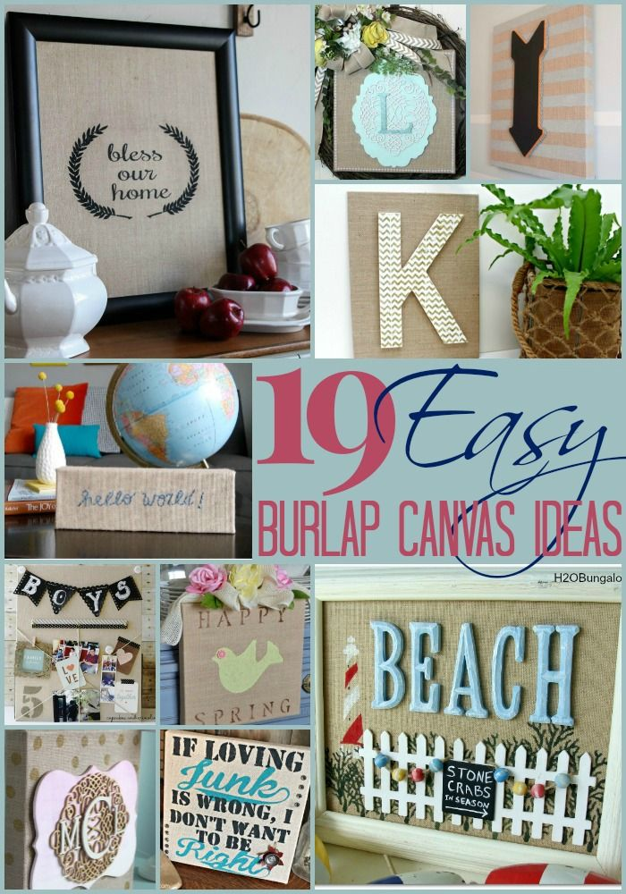 19 Inspirational Burlap Canvas Ideas #diy #burlap #crafts