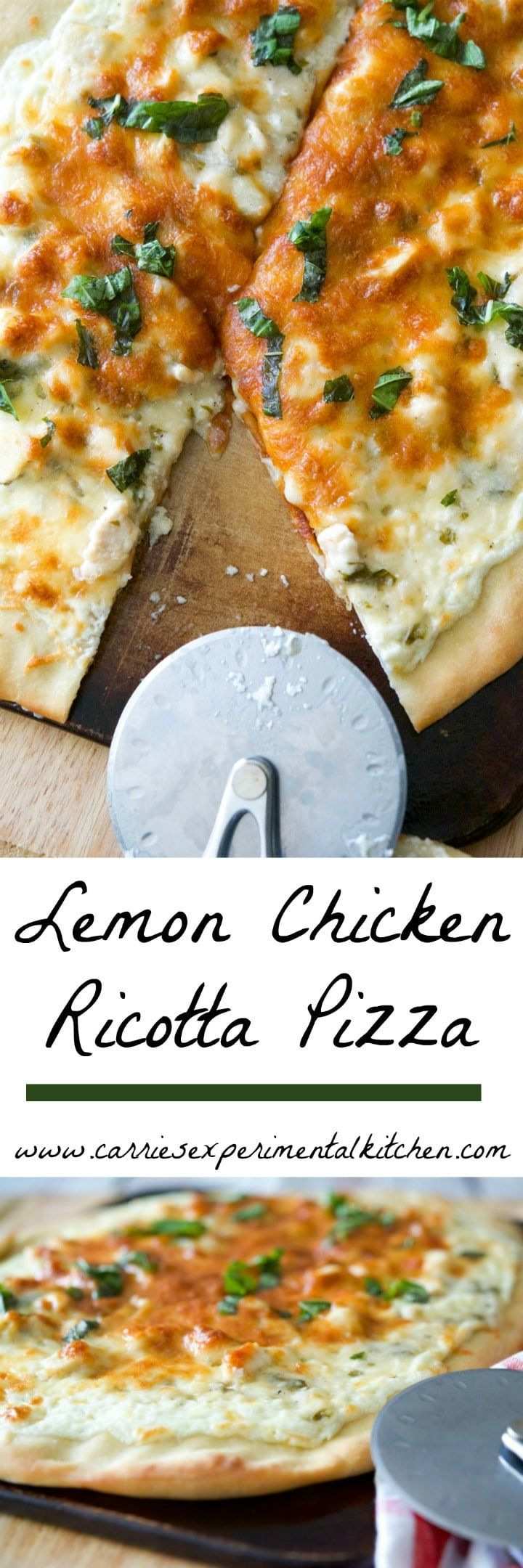 Lemon Chicken Ricotta Pizza is a white pizza made with a mixture of ricotta and mozzarella cheeses; then topped with boneless chicken in a lemon basil sauce.
