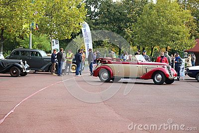 Wanderer W 23 Cabriolet 1938 at vintage cars parade in Bucharest, Romania.