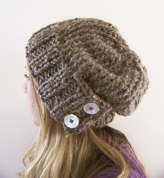 Slouchy hand-knit hat