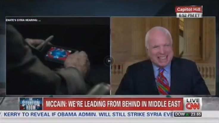 confirmed: SENATOR MCCAIN EXPLAINS WHY HE WAS PLAYING POKER WHILE HIS COLLEAGUES WERE DEBATING HIS PROPOSAL TO BOMB SYRIA - he is a confirmed douchecanoe.