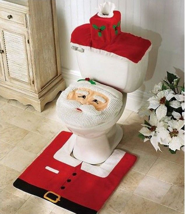 Santa Toilet seat cover Rug Set for Christmas Bathroom Decoration 634x731 20 Amazing Christmas Bathroom Decoration Ideas