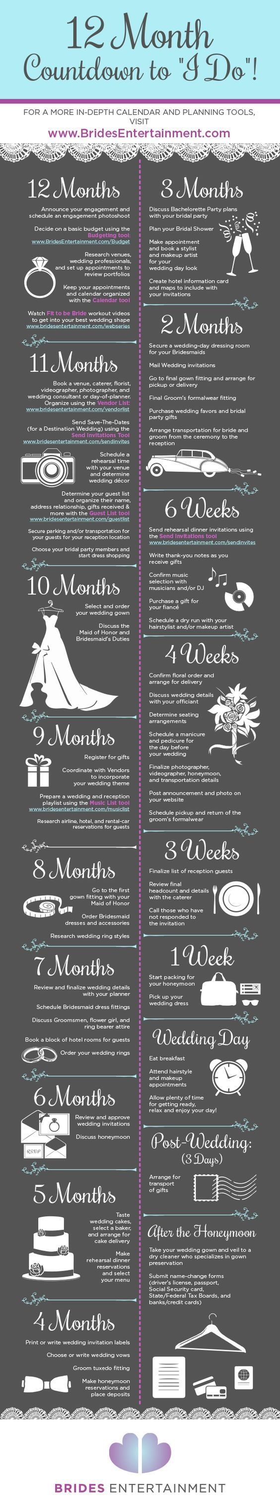 "12 Month Countdown To ""I Do"" marriage infographic infographics"