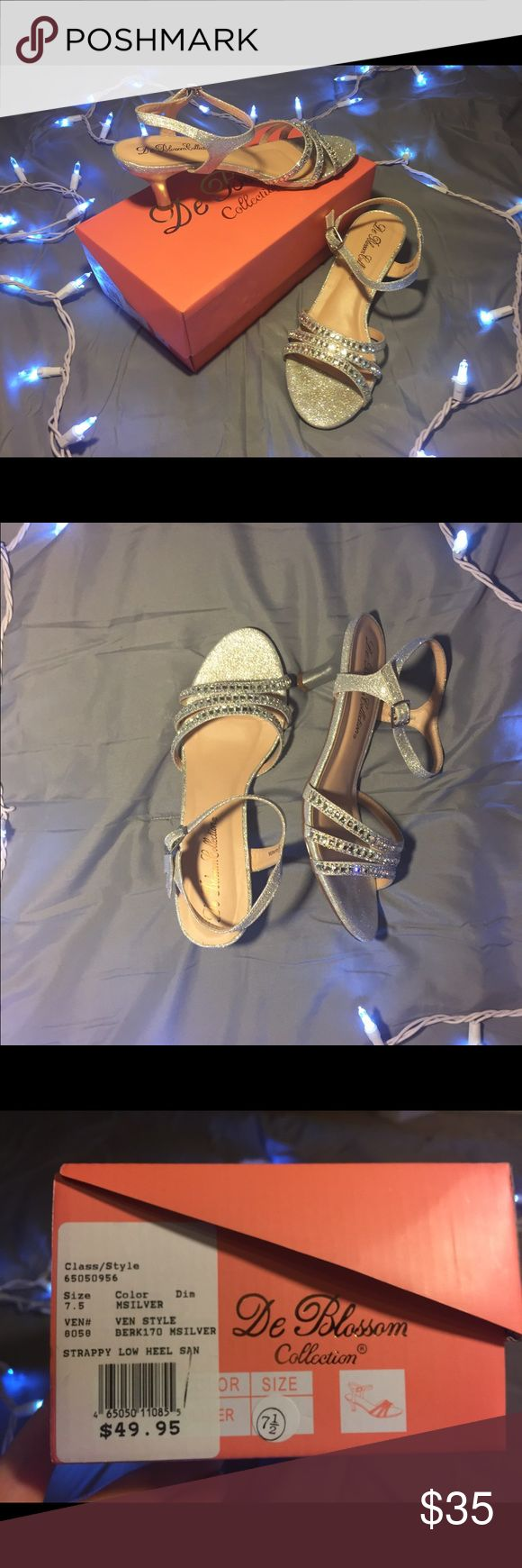 Silver Strappy Low Prom/Homecoming Heels • 2 inch heel • only worn once • adjustable straps • De Blossom Shoes Heels