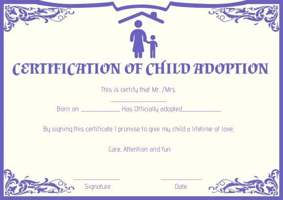 Child Adoption Certificates 10 Free Printable And Downloadable