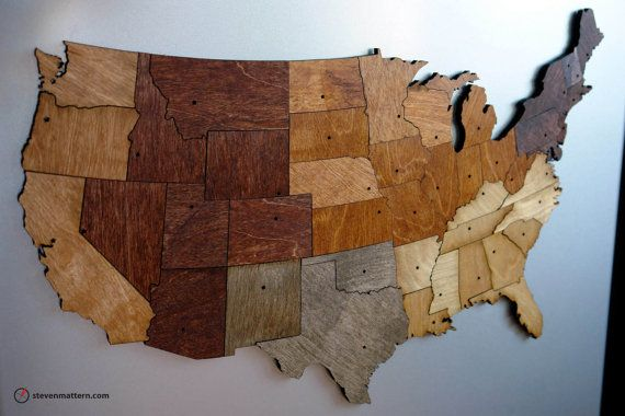 USA Map Puzzle  Stained Plywood by StevenMatternDesign on Etsy