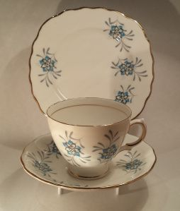"""Blue and White Flowers About: Colclough, unnamed From: local antique and collectibles shop Price: $12 Quality: Excellent Notes: impulse purchase when we were supposed to be """"just looking""""."""