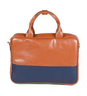 Tan and blue bag