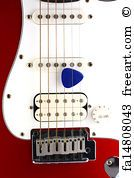 Red Electric Guitar With Pick On White - Art Print