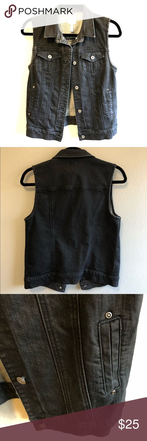 """Leith Sleeveless Denim Jacket Vest Faded Black XS Faded black denim brings street swagger to a sleeveless jacket styled with classic point-flap chest pockets.  Approx. length from shoulder: 23 3/4"""". Front button closure. Vertical welt pockets. Cotton/spandex; machine wash. By Leith; imported. Nordstrom Jackets & Coats Vests"""