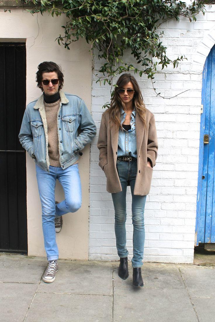 him: black turtleneck undershirt + light brown sweater + denim jacket with fur collar + denim jeans + gray converse  her: black undershirt + denim over shirt + brown coat + denim jeans + black booties