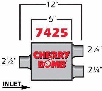 Cherry Bomb 7425 Extreme Muffler - http://www.performancecarautoparts.com/cherry-bomb-7425-extreme-muffler/
