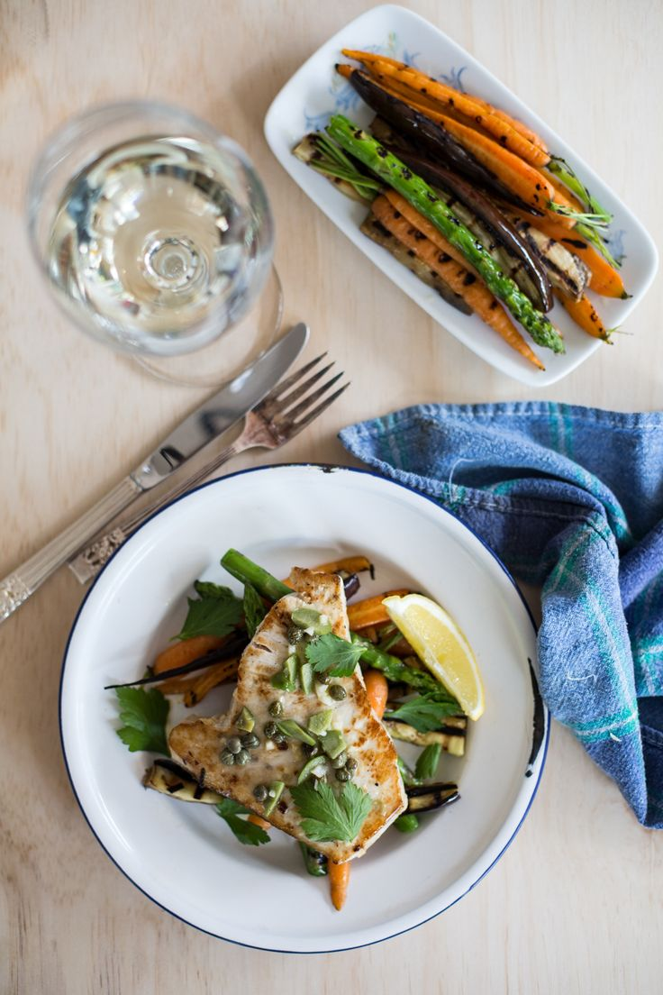 {Marinated swordfish with grilled carrots, asparagus and eggplant.}