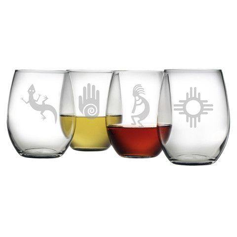Southwestern Designs Stemless Wine Glasses