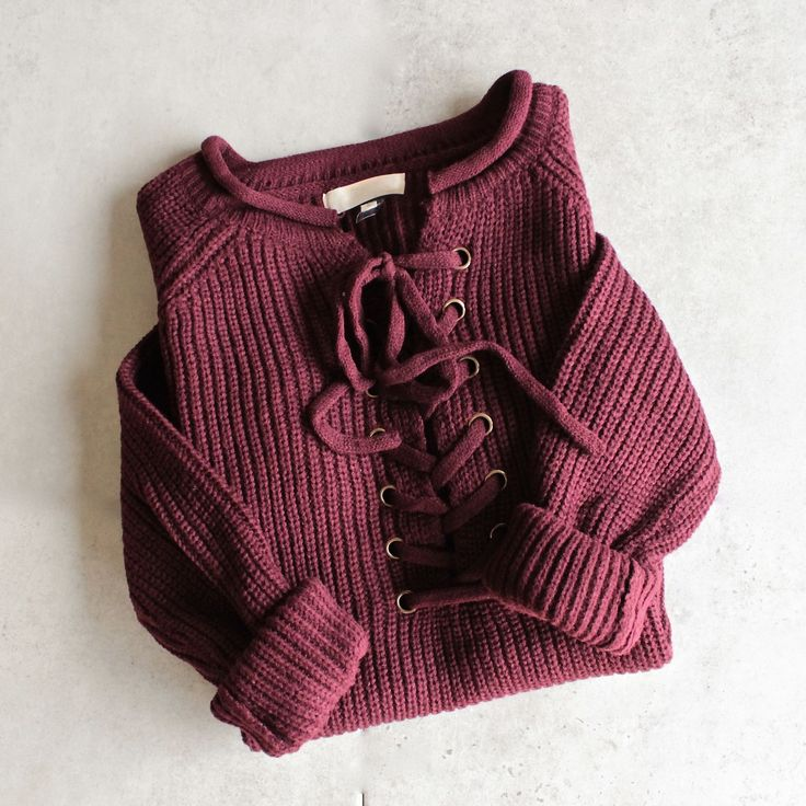 all tied up lace-up front sweater - burgundy