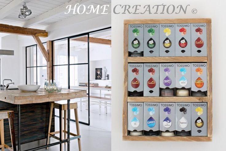 Distributeur étagère mural pour boites à capsules Tassimo en bois flotté et recyclé par HOME CREATION : Meubles et rangements par home-creation