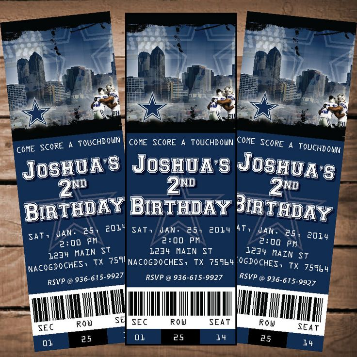 Best 25 Custom tickets ideas – Dallas Cowboys Party Invitations
