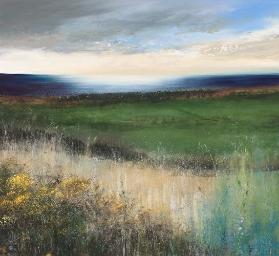 ☼ Painterly Landscape Escape ☼ landscape painting by Amanda Hoskin, Late Afternoon Walk