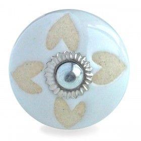 Bouton de Meuble Cœur Blanc et Crème
