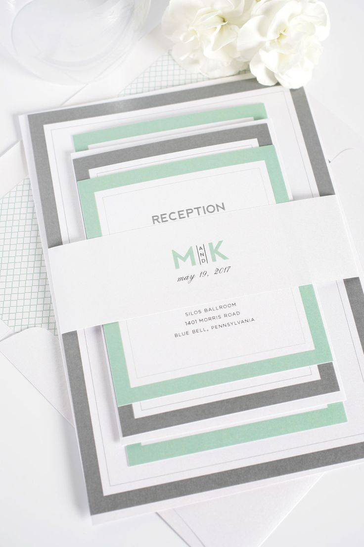 Gorgeous modern and contemporary wedding invitations in soft greyed jade and pewter gray. Features bold alternating borders and an initial monogram that is sure to make a statement! Pair these classic and mod wedding invitations with our mint crosshatch envelope liner | Shine Wedding Invitations